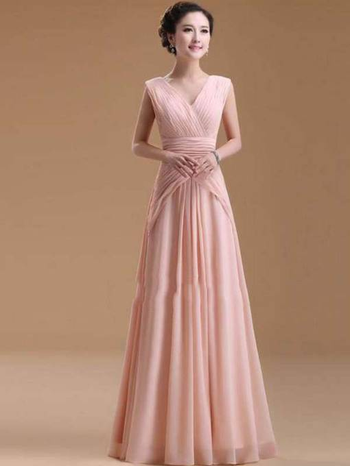 Ruched Deep V-neck Chiffon Floor-length Evening Dress