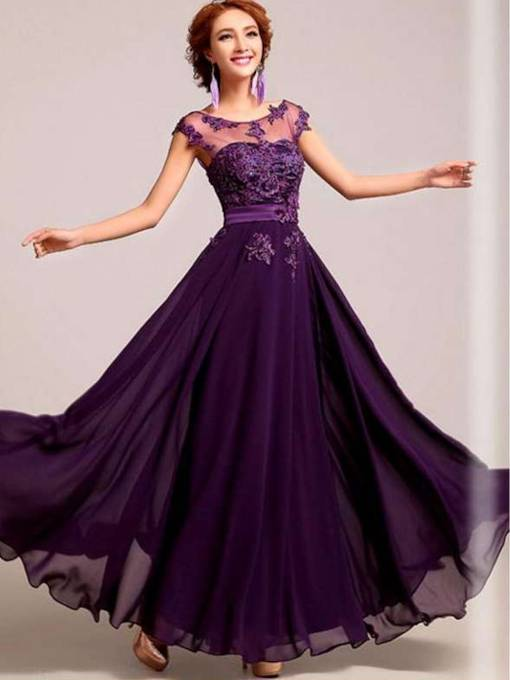 A-line Purple Bateau Appliques Evening Dress