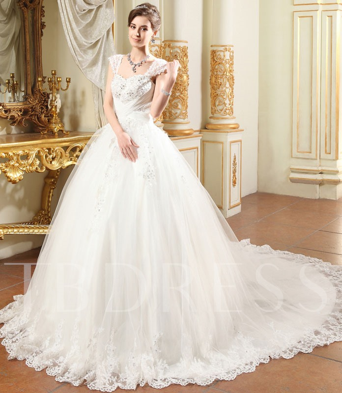 Wedding Ball Gowns With Straps: Straps Appliques Beading Ball Gown Chapel Train Wedding