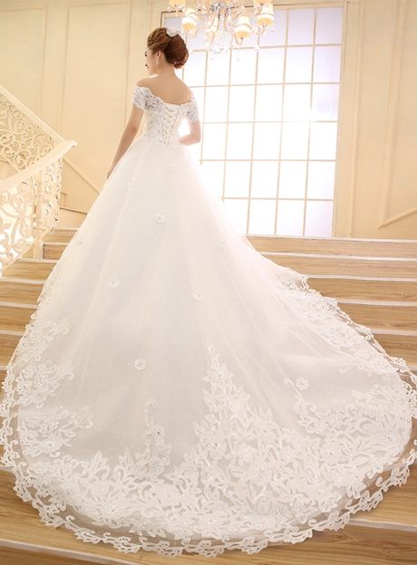 Off the Shoulder Short Sleeves Sequins Appliques Wedding Dress