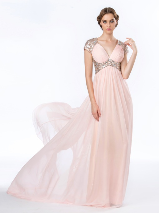 V-Neck Sequins A-Line Empire Floor Length Evening/Prom Dress