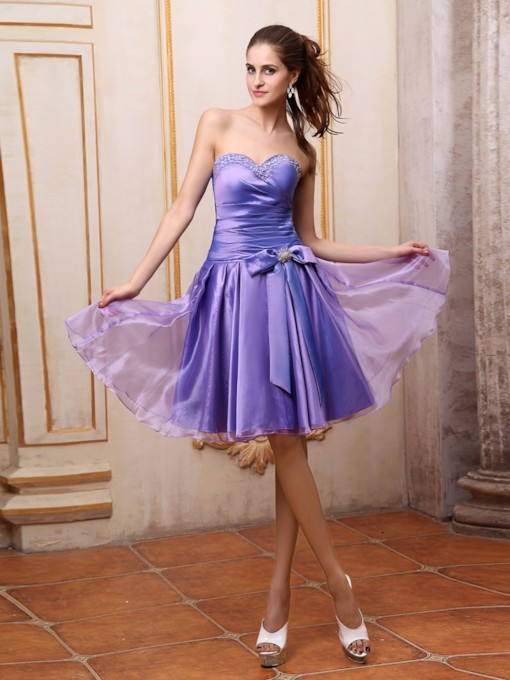 Knee Length Bowknot Lace Up Sweetheart Homecoming Dress