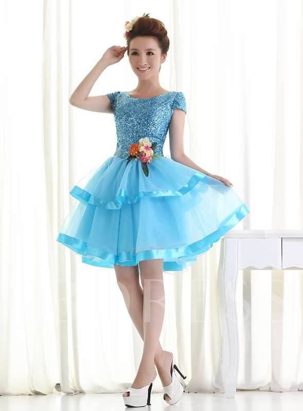 A-line Bateau Neck Knee-length Ball Gown Homecoming Dress