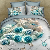 Blue Roses and Diamond Printed 3D Cotton 4-Piece Bedding Sets/Duvet Covers