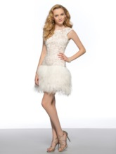 Lace Scoop Backless Column Short Homecoming Dress