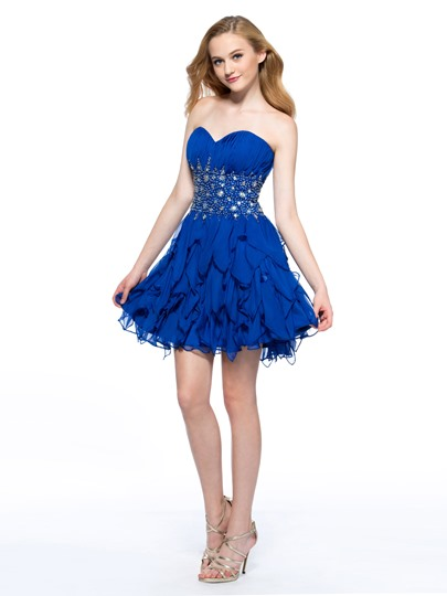 A-Line Sweetheart Rhinestone Homecoming Dress