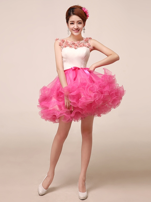 A-line Bateau Neck Flowers Short Ball Gown Homecoming Dress