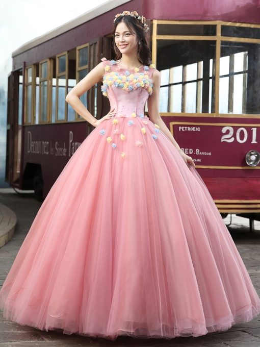Bateau Neck A-line Flowers Floor-Length Quinceanera Dress