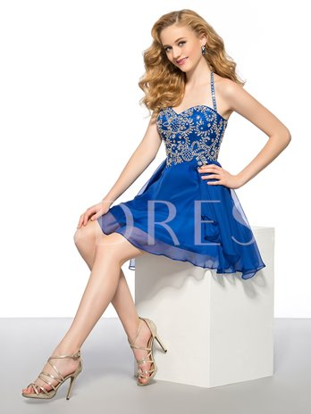 A-Line Beading Center Back Zipper Short Homecoming Dress