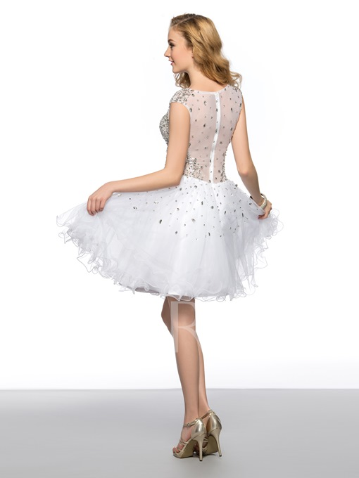 A-Line Round Neck Beading Sequins Short Homecoming/Prom Dress