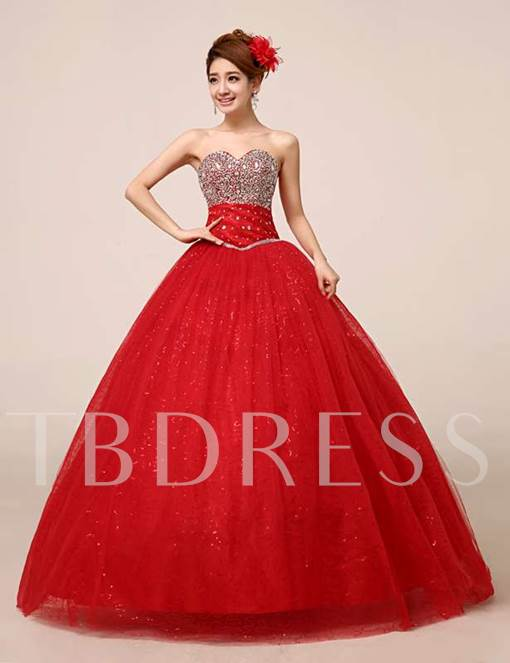 Sweetheart Neckline A-line Beadings Floor-length Quinceanera Dress