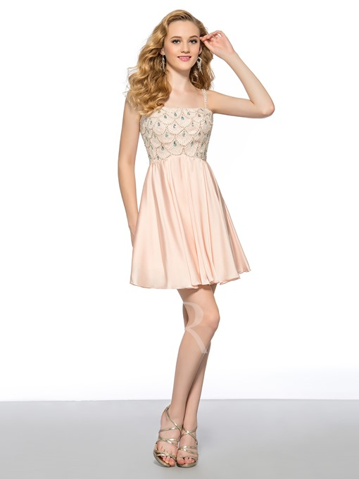 A-line Strap Scoop Rhinestone Short Homecoming Dress