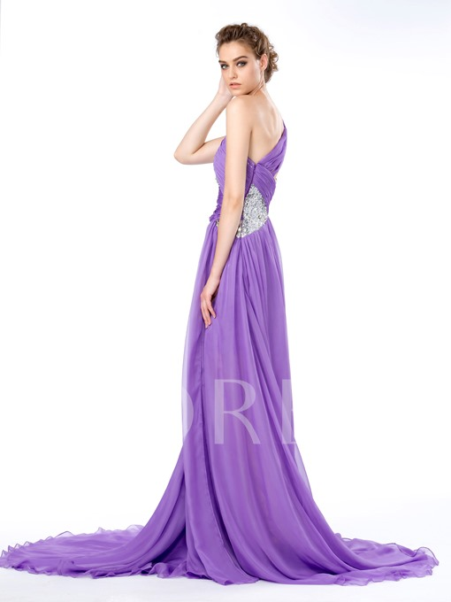 One Shoulder Sequins Rhinestones Split-Front A-Line Court Train Evening/Prom Dress