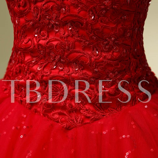 Sequined Lace Red Ball Gown Wedding Dress
