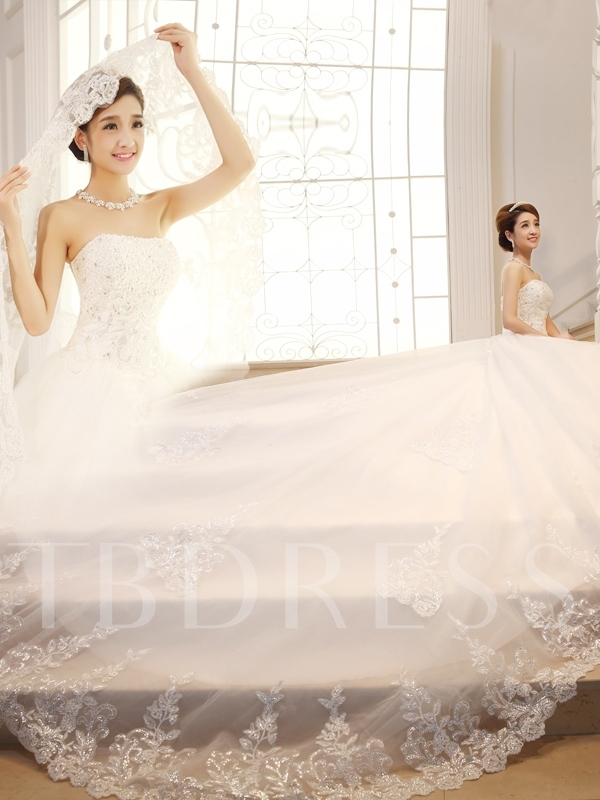 Strapless Appliques Sequins Cathedral Train Wedding Dress