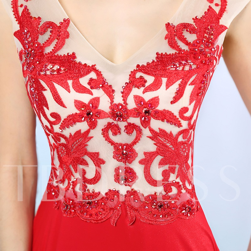 V-Neck Embroidery Beading Floor-Length Evening Dress