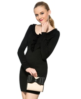 Round-Neck Falbala Long Sleeve Sweater Dress
