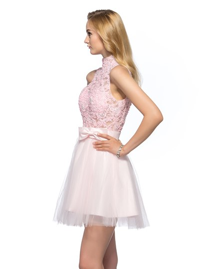 A-Line High Neck Appliques Beading Backless Short Homecoming/Prom Dress