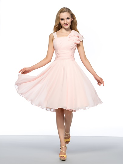 Straps A-Line Zipper-Up Homecoming Dress