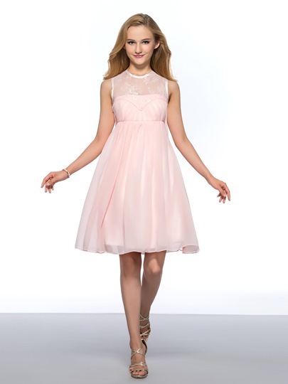 Jewel Neck Lace Beading Empire Short Homecoming Dress