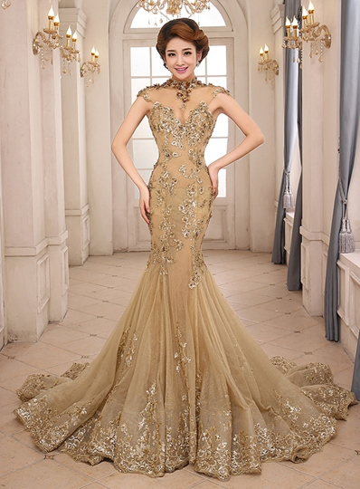High-Neck Mermaid Appliques Backless Lace-up Long Evening Dress