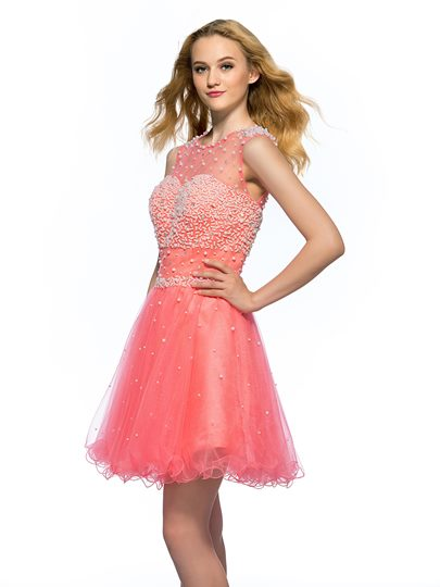 A-Line Pearls Beading Short Homecoming Dress
