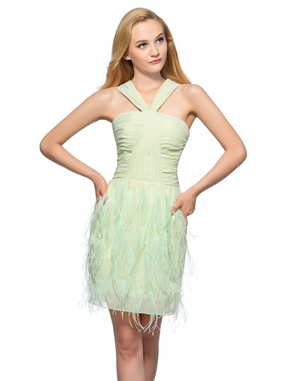 Sheath Halter Ruched Homecoming Dress