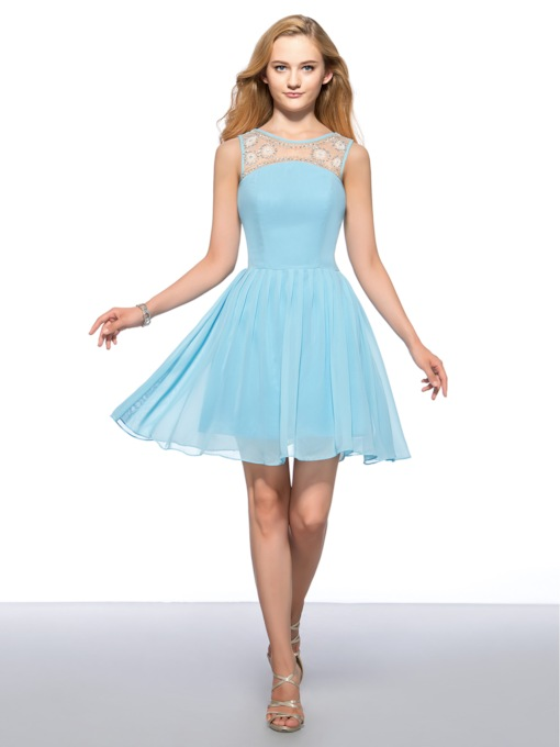 A-line Bateau Neck Beaded Short Homecoming Dress