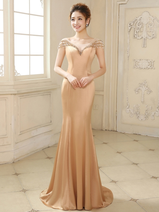 Tulle Neckline Mermaid Beading Bowknot Evening Dress