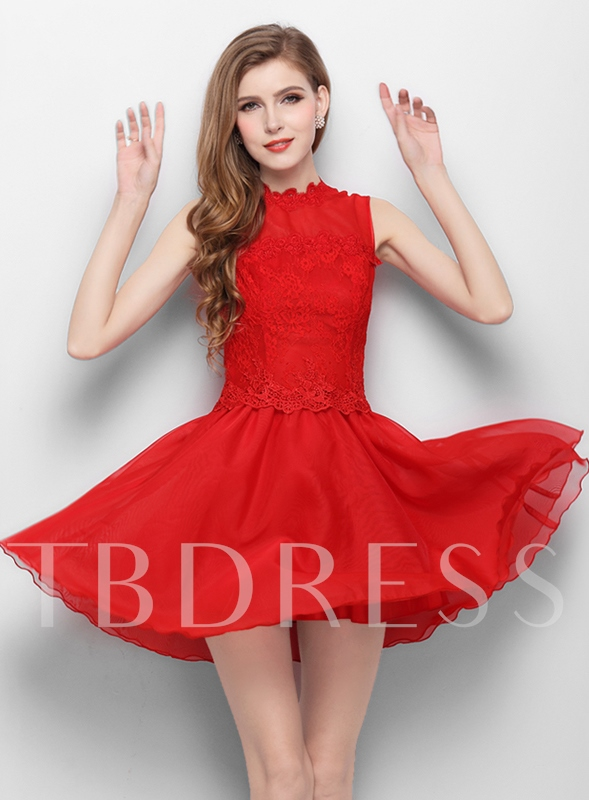 Image of A-Line Jewel Neck Lace Short Homecoming Dress