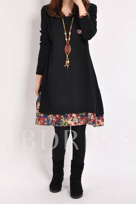Patchwork Floral Hemline Women's Dress