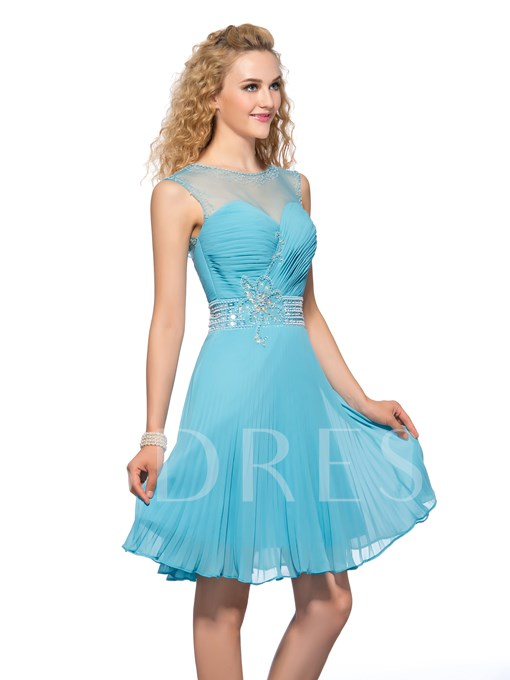 A-Line Beading Backless Zipper-Up Homecoming Dress