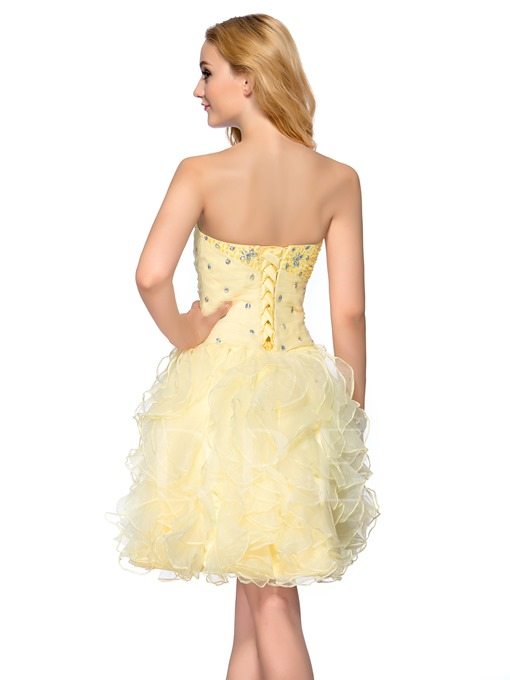 Sweetheart Beading Tiered Lace-up Short Homecoming/ 16 Dress