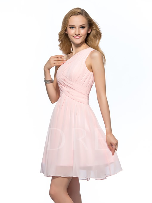 Ruched One Shoulder A-Line Short Homecoming Dress