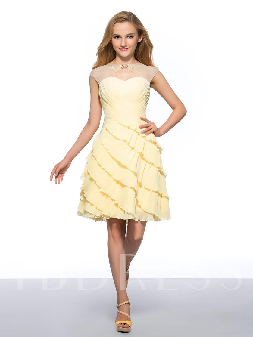 Beaded Boat Neck Tiered Ruched Chiffon Homecoming Dress
