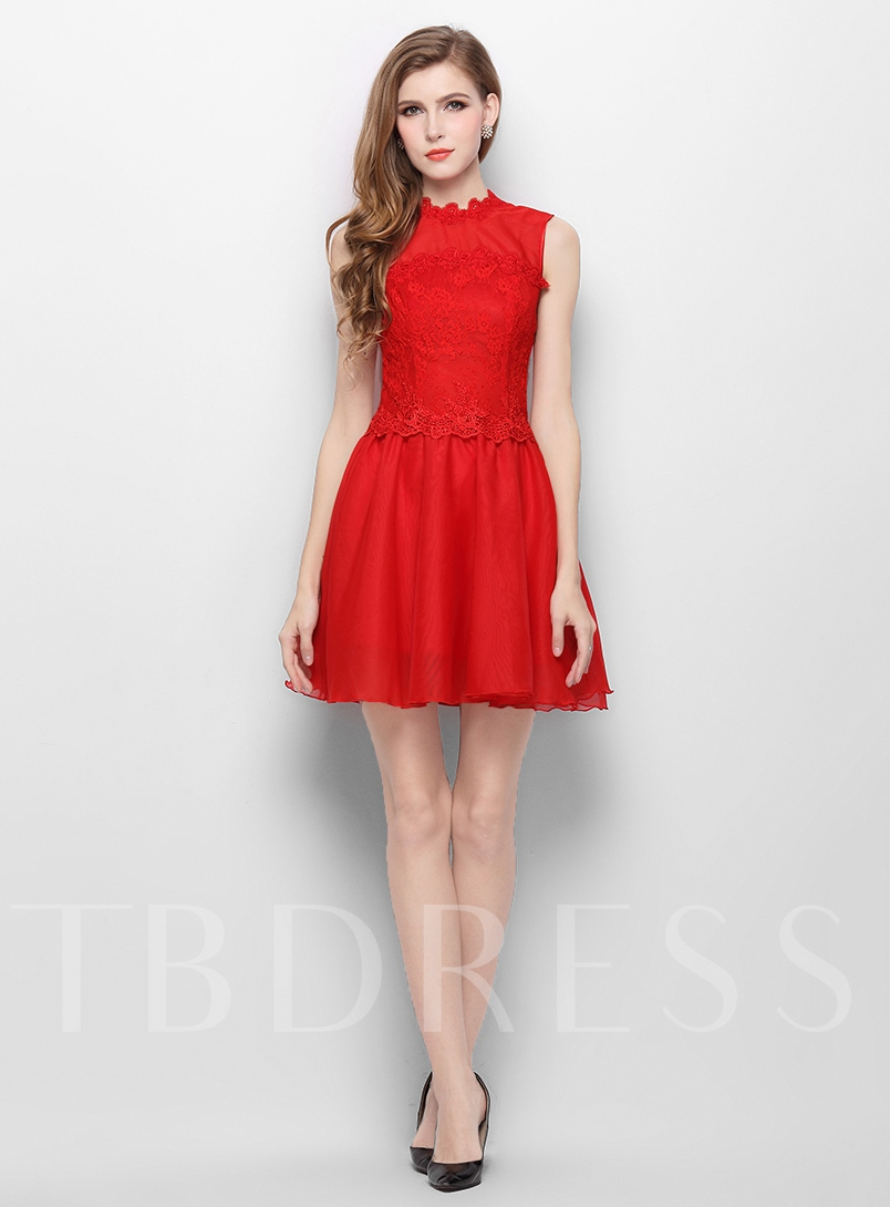 A-Line Jewel Neck Lace Short Homecoming Dress