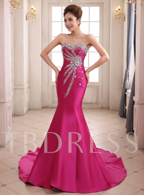 Sweetheart Mermaid Beading Chapel Train Lace-up Evening Dress