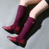 Multi Color Patchwork Buckle Chunky Heels Boots