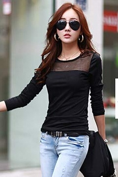 Multi Color Mesh Patchwork Long Sleeves T-shirt