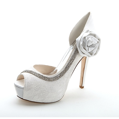 Flower Peep-Toe High Heel Wedding Shoes