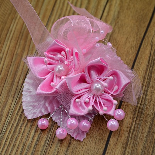 Pink Cloth Flower Corsage Wedding Bridal Corsage