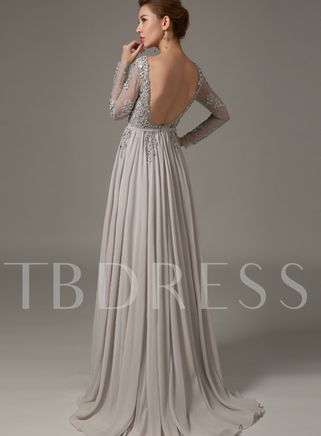 Long Sleeve Appliques Backless Mother of the Bride Dress