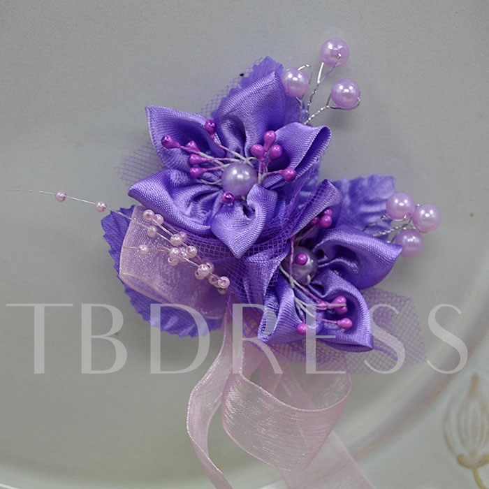 Purple Cloth Flower Corsage Wedding Bridal Corsage