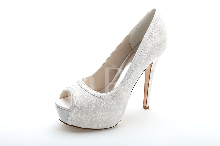 Plain Open Toe Lace Wedding Shoes