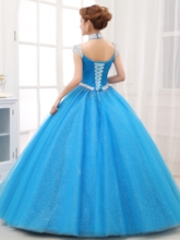 Halter Rhinestone Beading Ice Blue Quinceanera Dress