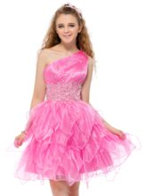 One Shoulder Beading Short Homecoming Dress