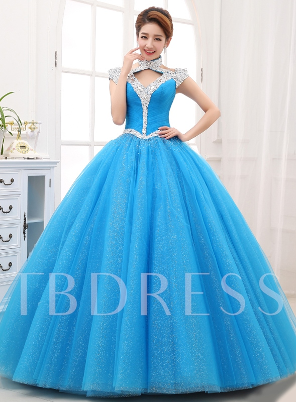 Image of A-line Halter Rhinestone Floor-Length Quinceanera Dress