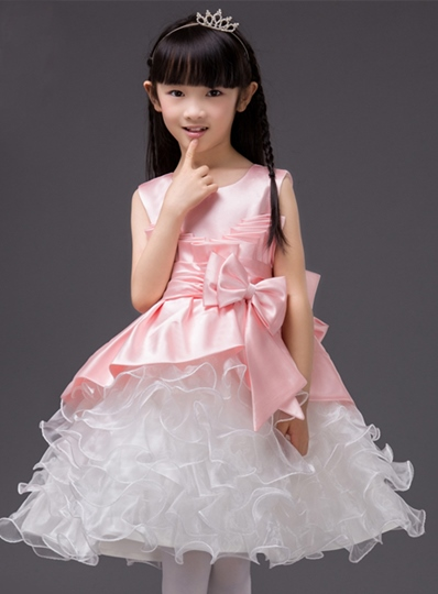 Scoop Neck Bowknot Flower Girl Dress