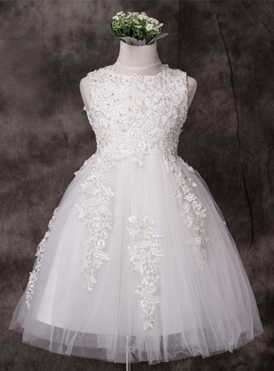 Scoop Neck Appliques Flower Girl Dress