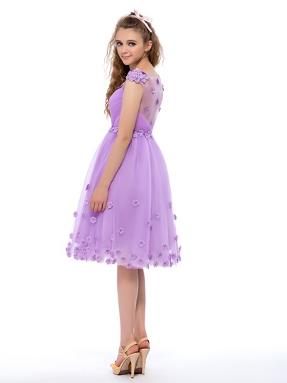 Flower Applique A-Line Knee Length Homecoming Dress